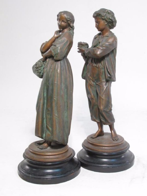 TWO ANTIQUE CONTINENTAL COPPER FINISHED FIGURES - 7