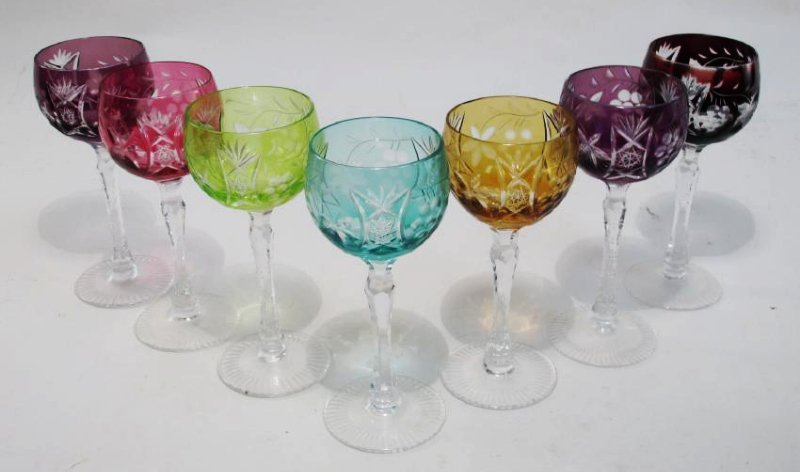 SEVEN COLORED CUT TO CLEAR CRYSTAL WINE GLASSES