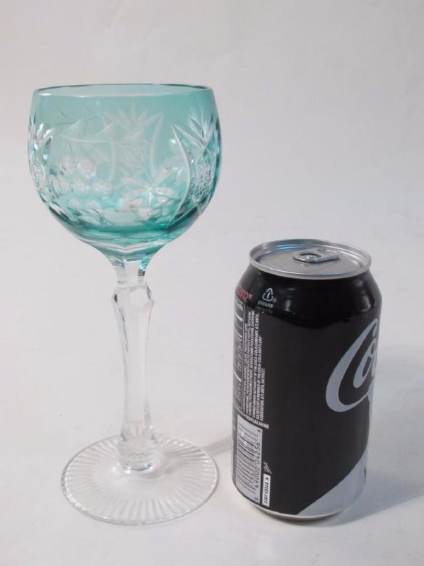 SEVEN COLORED CUT TO CLEAR CRYSTAL WINE GLASSES - 7