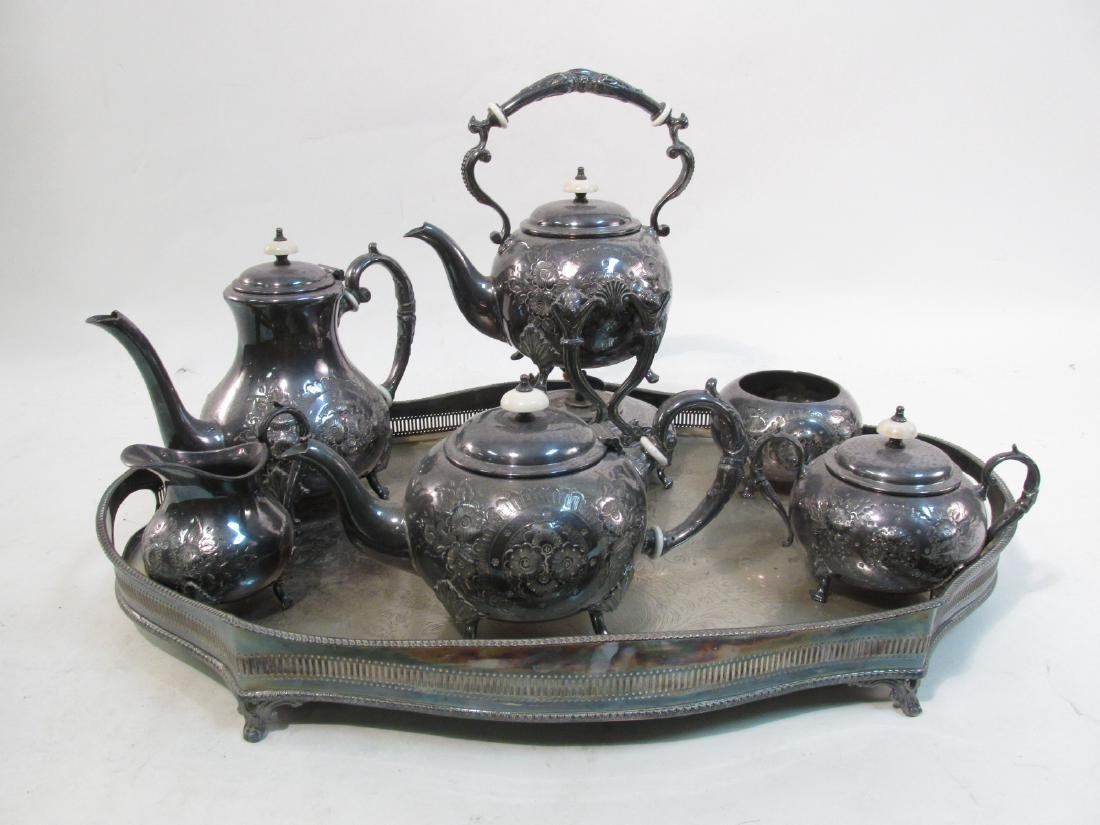 JOHN TURTON SILVER PLATED TEA SET & SHEFFIELD TRAY