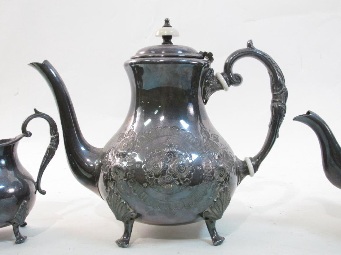 JOHN TURTON SILVER PLATED TEA SET & SHEFFIELD TRAY - 3