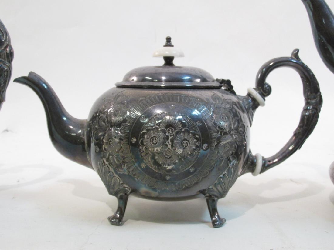 JOHN TURTON SILVER PLATED TEA SET & SHEFFIELD TRAY - 4