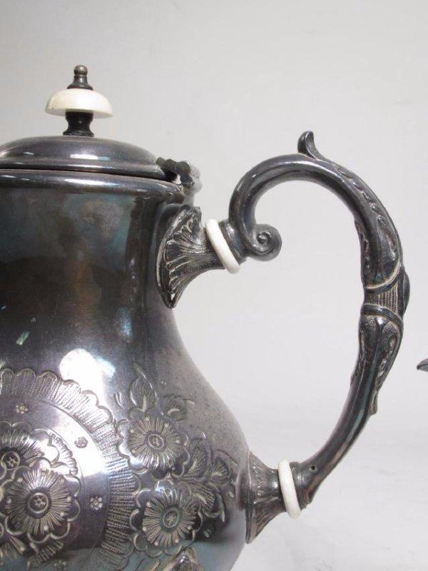 JOHN TURTON SILVER PLATED TEA SET & SHEFFIELD TRAY - 7