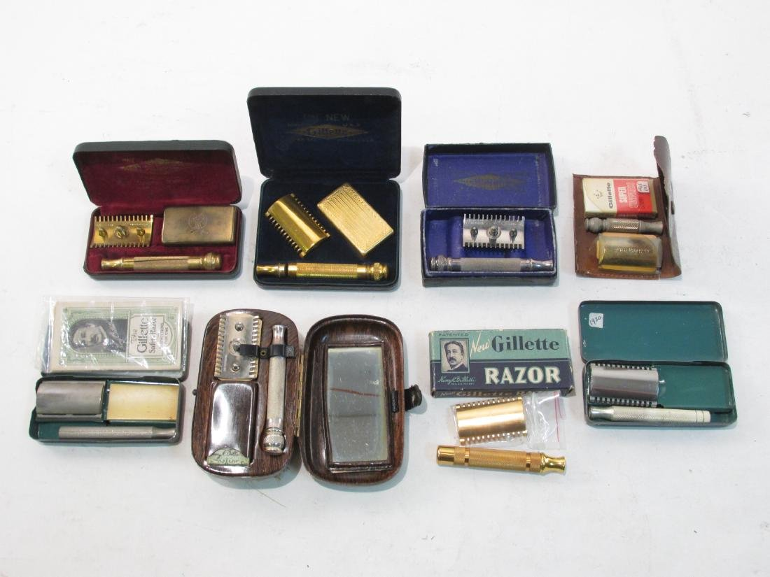 EIGHT VINTAGE GILLETTE COLLECTABLE SAFETY RAZORS