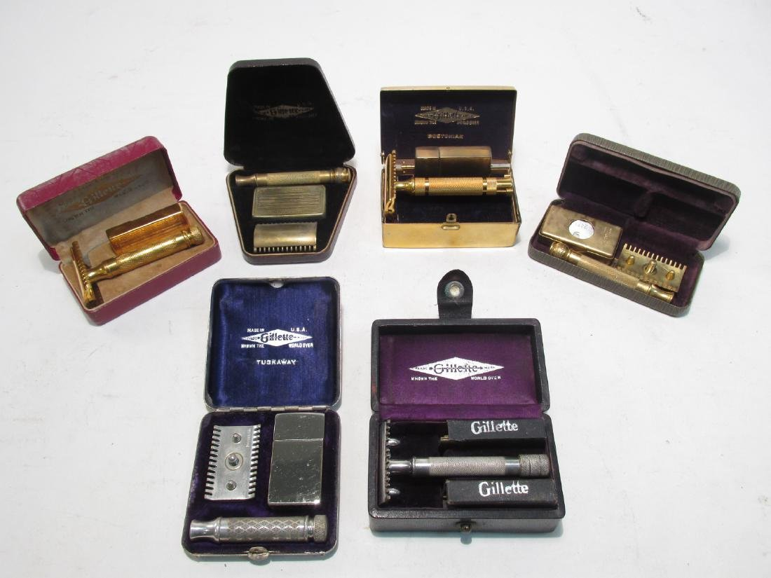 SIX VINTAGE GILLETTE DE SAFETY RAZORS: BOSTONIAN