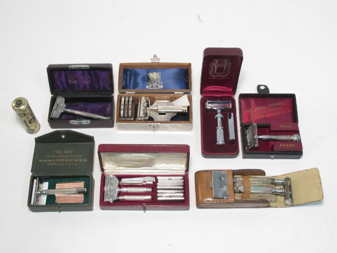 EIGHT VINTAGE SE SAFETY RAZORS: AELDIN, DIME, ETC.