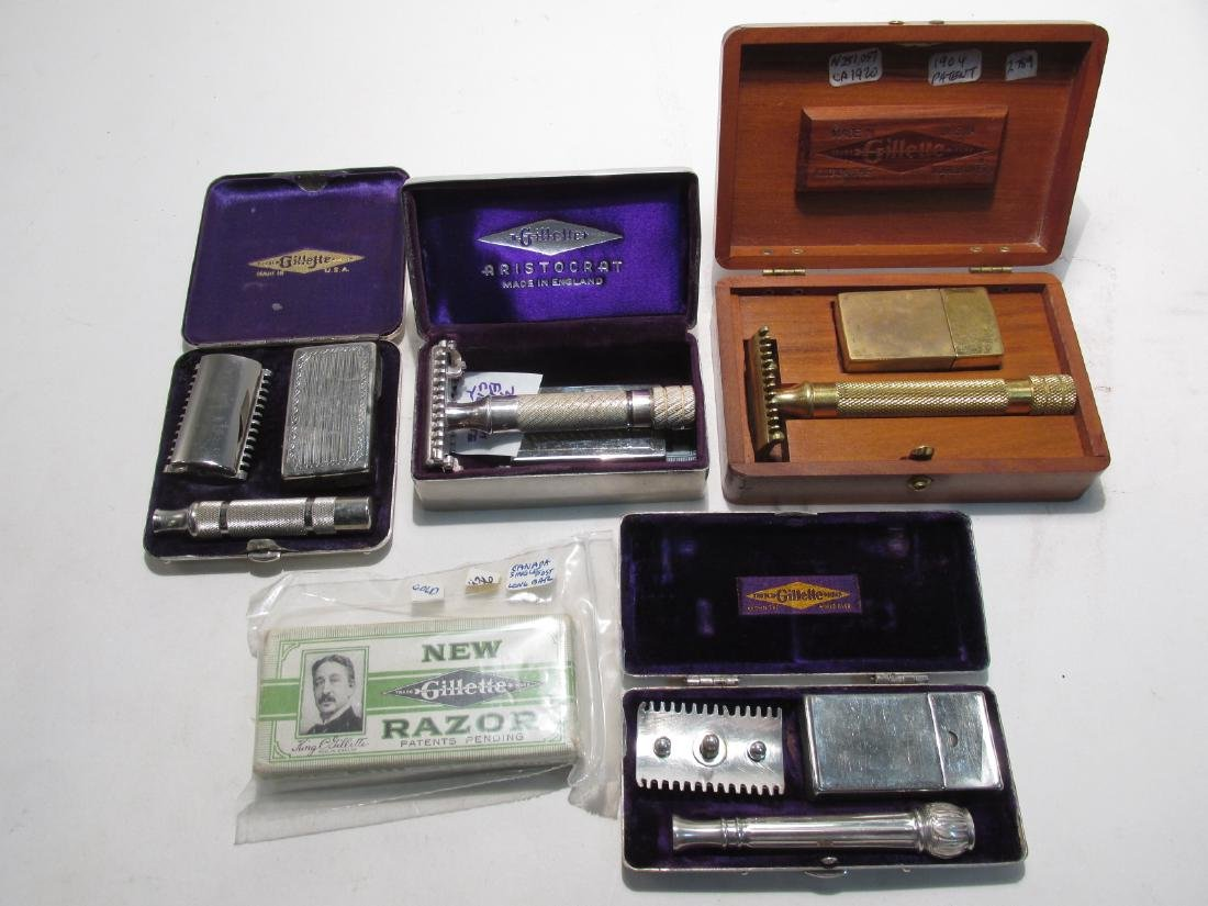 FIVE VINTAGE GILLETTE COLLECTABLE SAFETY RAZORS