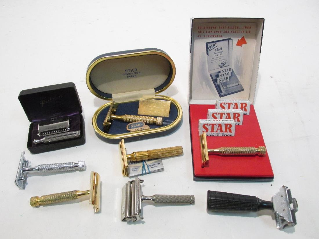 EIGHT ASSORTED STAR DE & SE SAFETY RAZORS