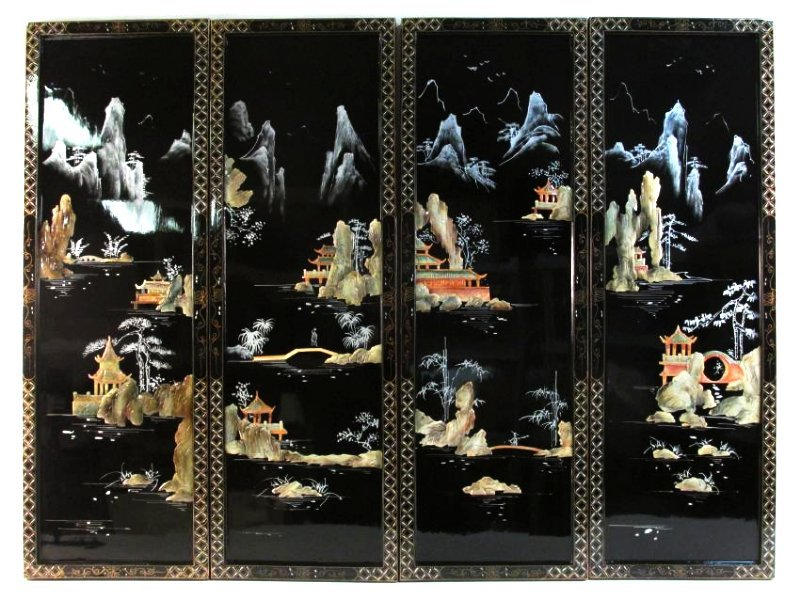 FOUR CHINESE BLACK LACQUER AND STONE WALL PANELS