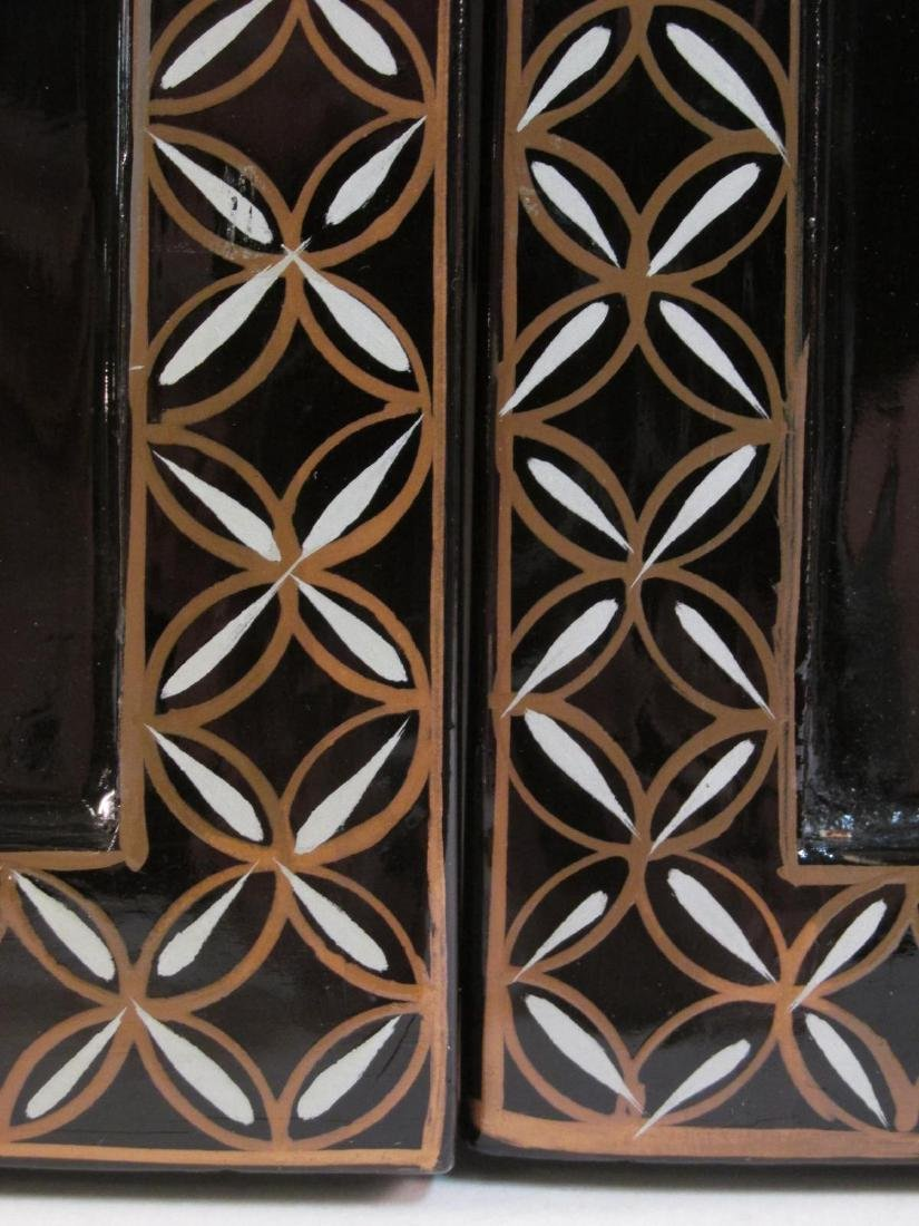 FOUR CHINESE BLACK LACQUER AND STONE WALL PANELS - 6