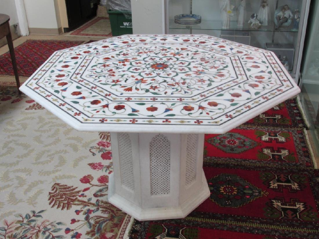 LARGE INDIAN INLAID MARBLE MOSAIC TABLE