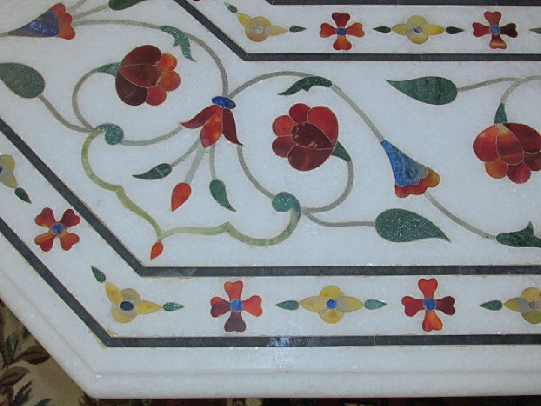 LARGE INDIAN INLAID MARBLE MOSAIC TABLE - 5