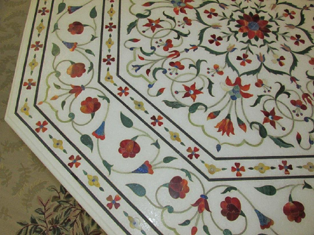 LARGE INDIAN INLAID MARBLE MOSAIC TABLE - 6
