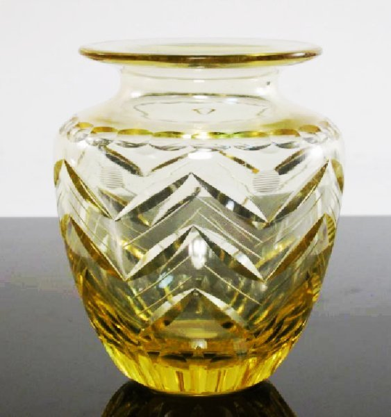 CZECHOSLOVAKIAN CUT AMBER ART GLASS VASE