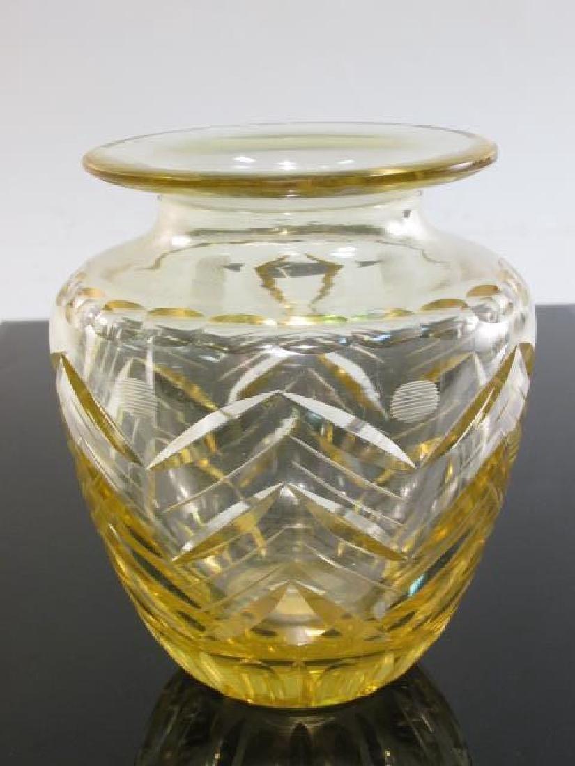 CZECHOSLOVAKIAN CUT AMBER ART GLASS VASE - 2