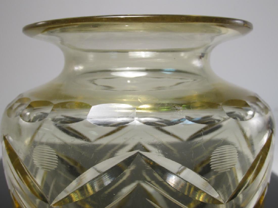 CZECHOSLOVAKIAN CUT AMBER ART GLASS VASE - 3