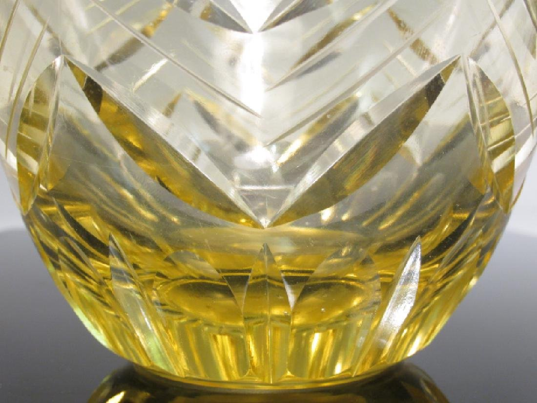 CZECHOSLOVAKIAN CUT AMBER ART GLASS VASE - 5