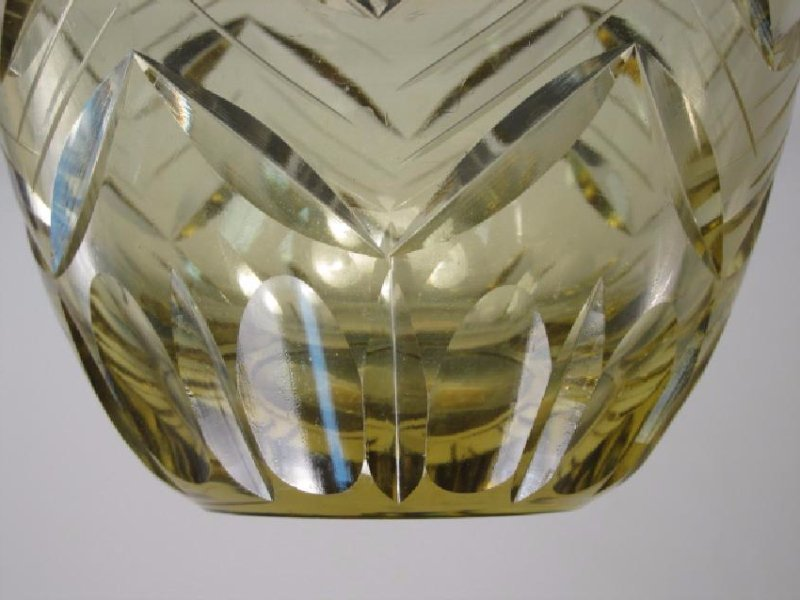 CZECHOSLOVAKIAN CUT AMBER ART GLASS VASE - 6