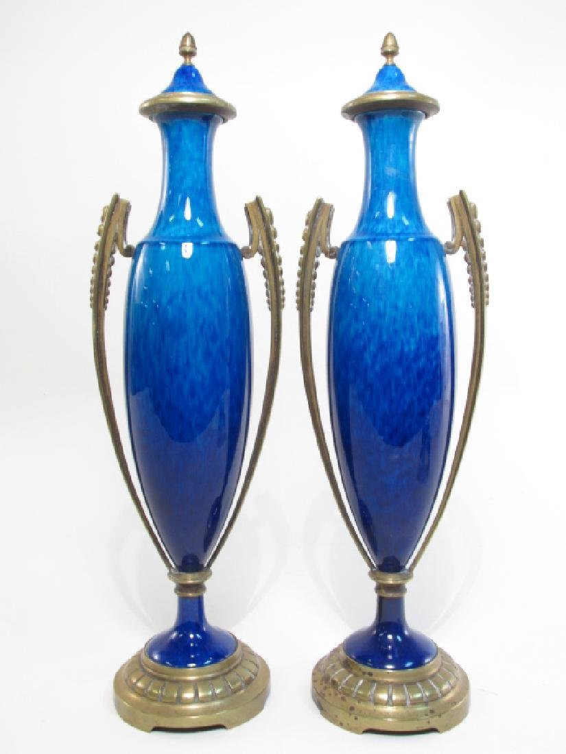 PAIR SEVRES GILT BRONZE MOUNTED BLUE CERAMIC URNS