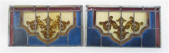 PAIR VICTORIAN LEADED & PAINTED GLASS WINDOW PANEL