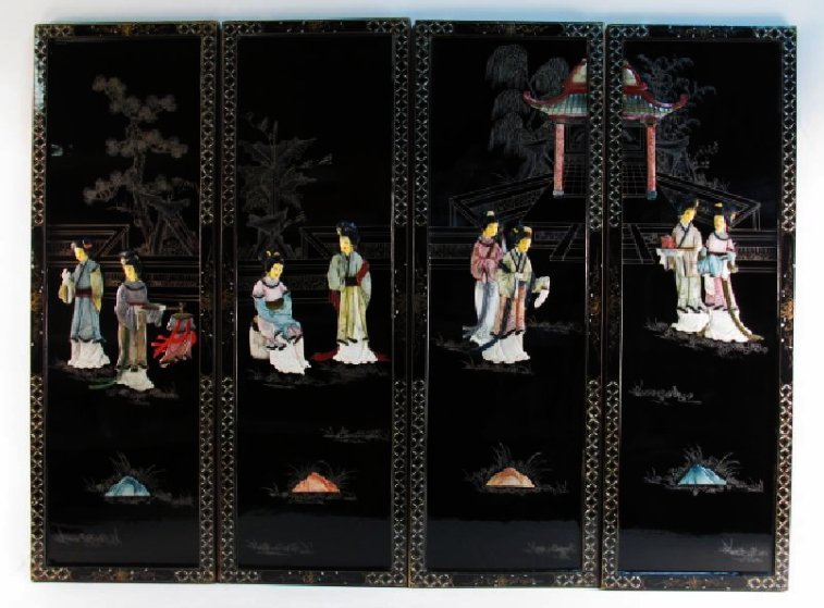 FOUR CHINESE BLACK LACQUER & STONE WALL PANELS
