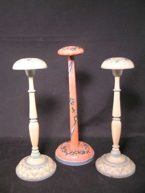 351: 3 HAND PAINTED FLORAL DESIGN HAT STANDS WOODEN
