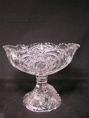 PATTERN GLASS CENTERPIECE OR PUNCH BOWL ON STEM