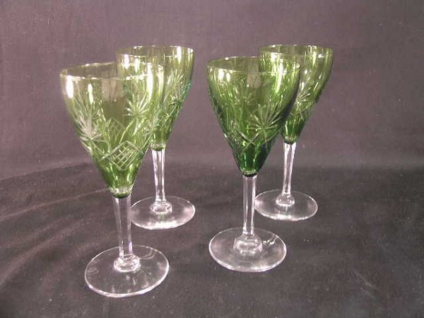 359: GREEN CUT TO CLEAR CRYSTAL WINE STEMS 4 PCS