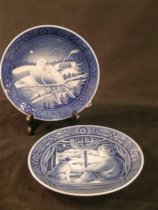 2 GEORG JENSEN HOLIDAY COLLECTOR PLATES 1972 1973