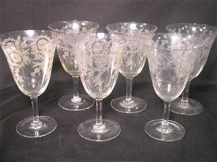 THISTLE ETCHED CRYSTAL WINE STEMS GLASSES 6 PCS