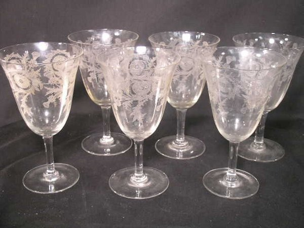 366: THISTLE ETCHED CRYSTAL WINE STEMS GLASSES 6 PCS