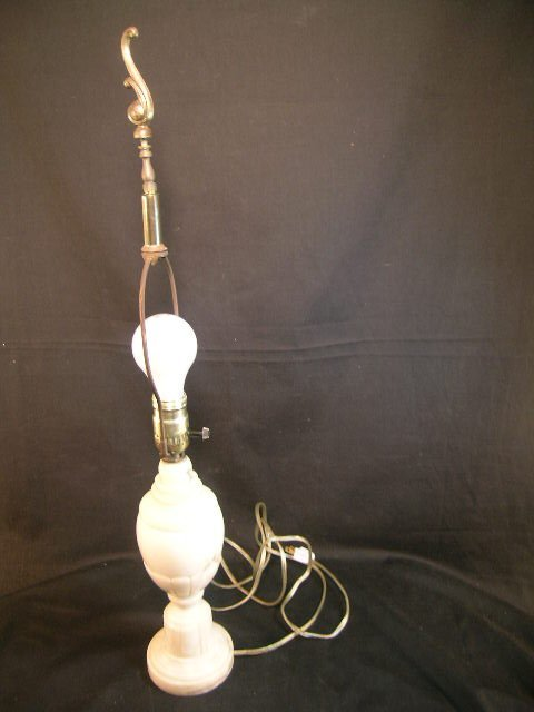 369: SMALL ANTIQUE ALABASTER TABLE LAMP