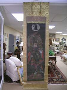 674: ASIAN SCROLL PAINTING PAPER SILK