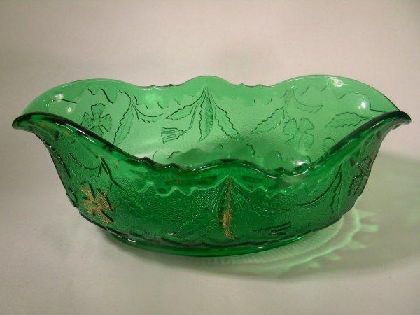 1: EAPG PATTERN GLASS GREEN DELAWARE BANANA BOWL