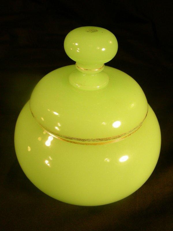 20: ANTIQUE GREEN OPALINE GLASS DRESSER JAR