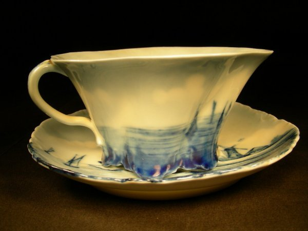 21: FINE HAND PAINTED ROSENTHAL DELFT CUP SAUCER