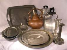 75 ASST PEWTER  COPPER TIN PLATES POTS ETC 13 PCS