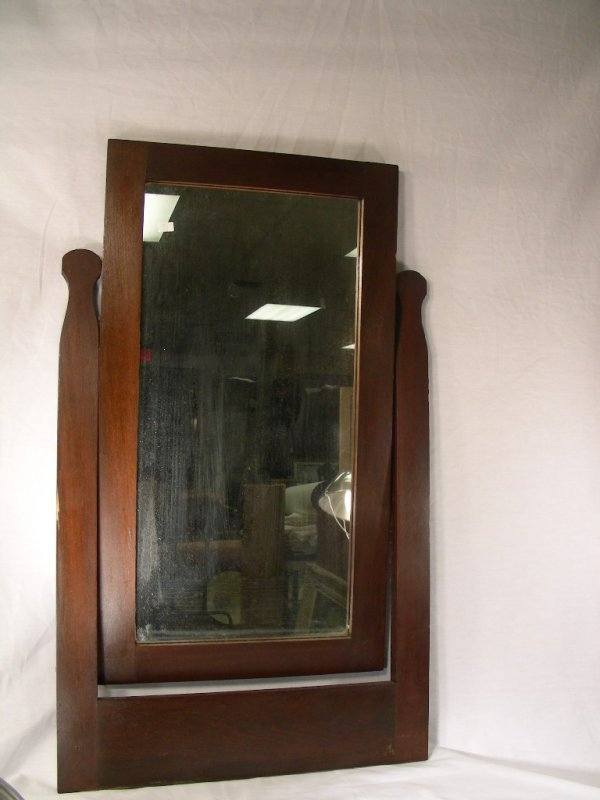 415: VINTAGE WOOD SHAVING STYLE LARGE MIRROR
