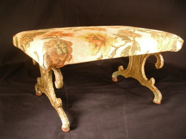 418: ART DECO 1930'S METAL FRAMED FOOT STOOL SMALL