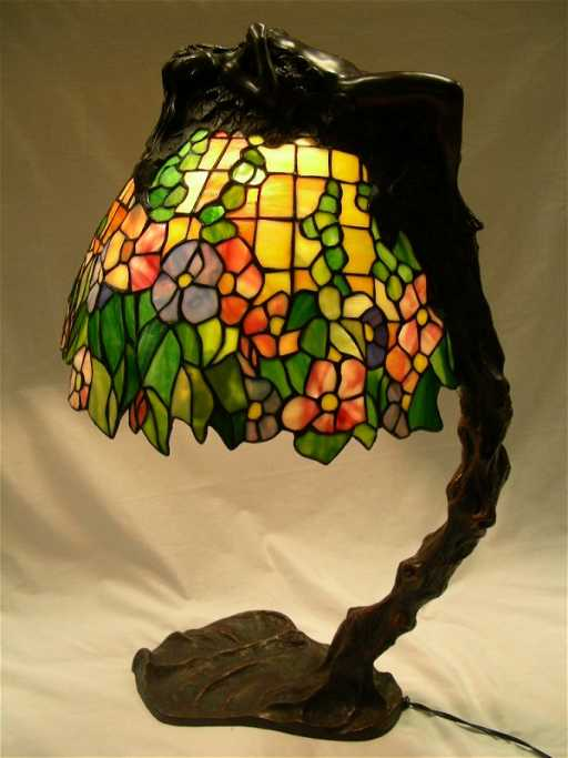 573 E Thomasson Tiffany Style Leaded Glass Lamp Nude On Liveauctioneers