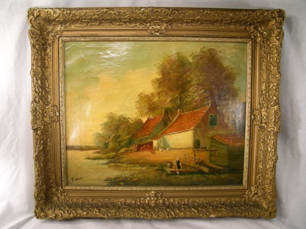 643: ANTIQUE OIL CANVAS PAINTING FARM ON POND SIGNED