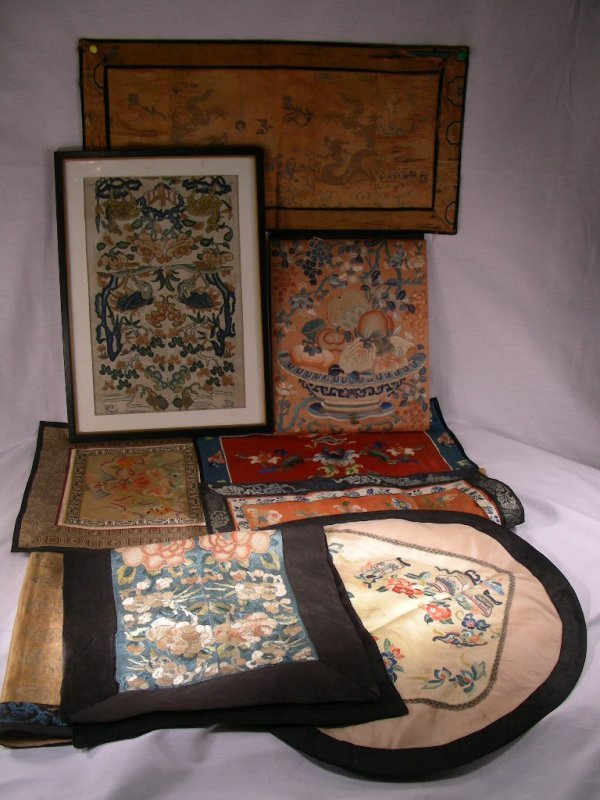 659: ANTIQUE CHINESE EMBROIDERY SILK TEXTILE GROUP