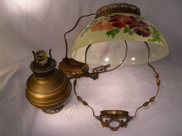 411: ANTIQUE HAND PAINTED HANGING OIL LANTERN ELECTRIFI