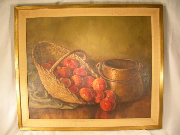 820: OIL ON CANVAS PAINTING STILL LIFE SIGNED R. RICH