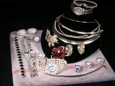 1094: STERLING SILVER AND ASST WATCHES BRACELETS ETC
