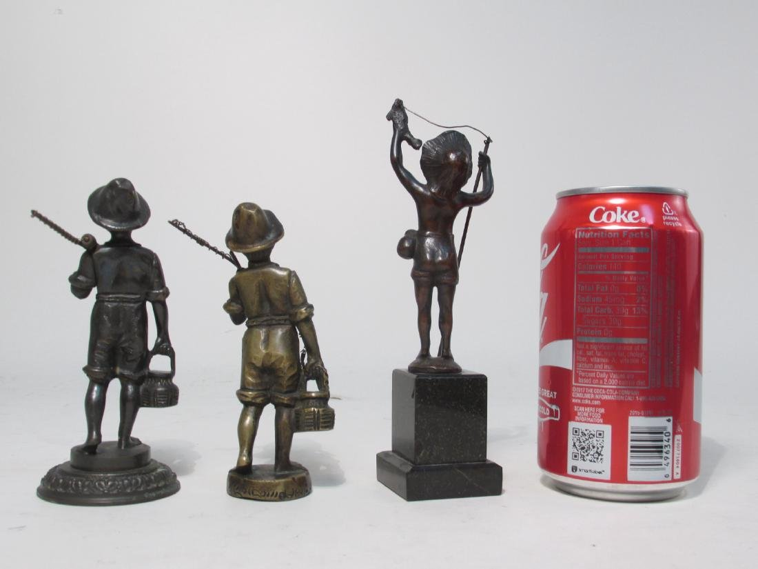 THREE MINIATURE BRONZE SCULPTURES OF CHILDREN FISHING - 10