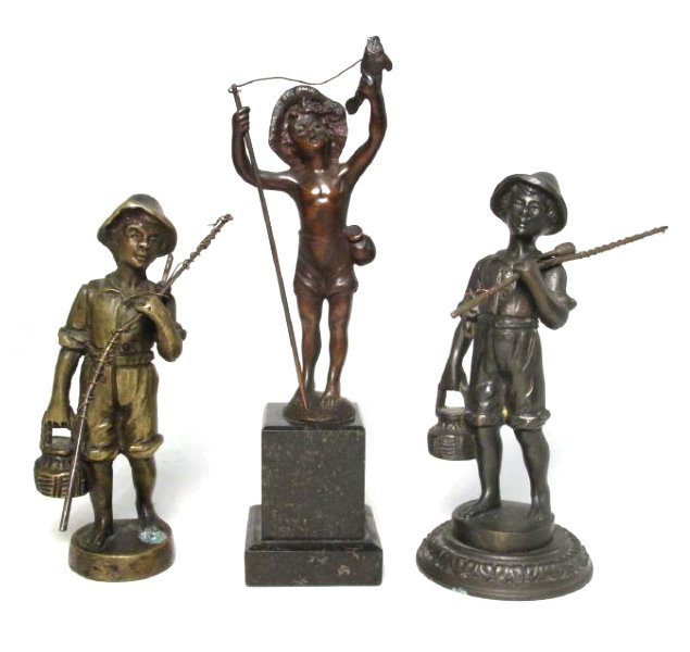 THREE MINIATURE BRONZE SCULPTURES OF CHILDREN FISHING