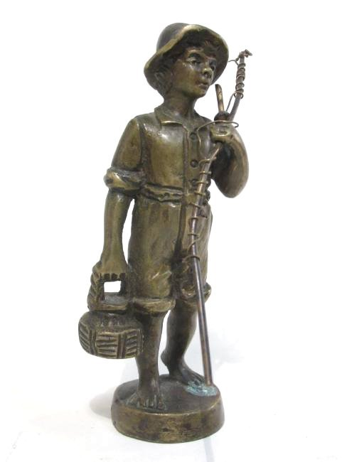 THREE MINIATURE BRONZE SCULPTURES OF CHILDREN FISHING - 4