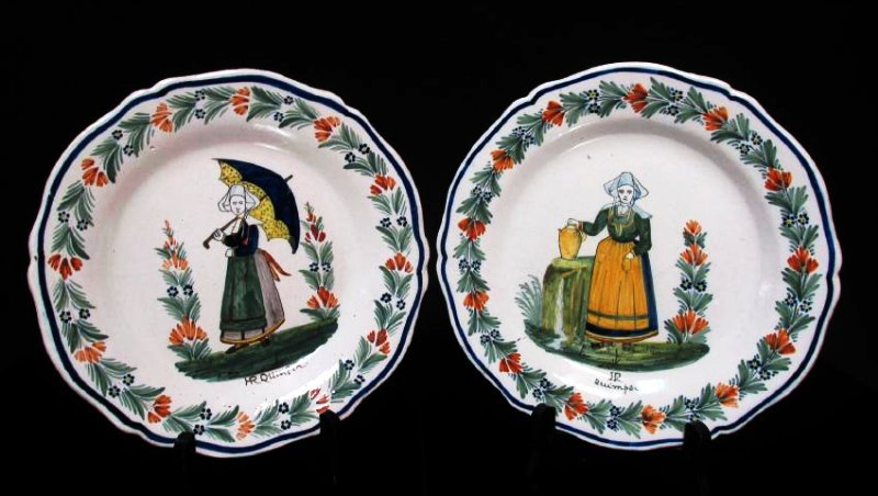 TWO EARLY 20TH C HENRIOT QUIMPER PLATES