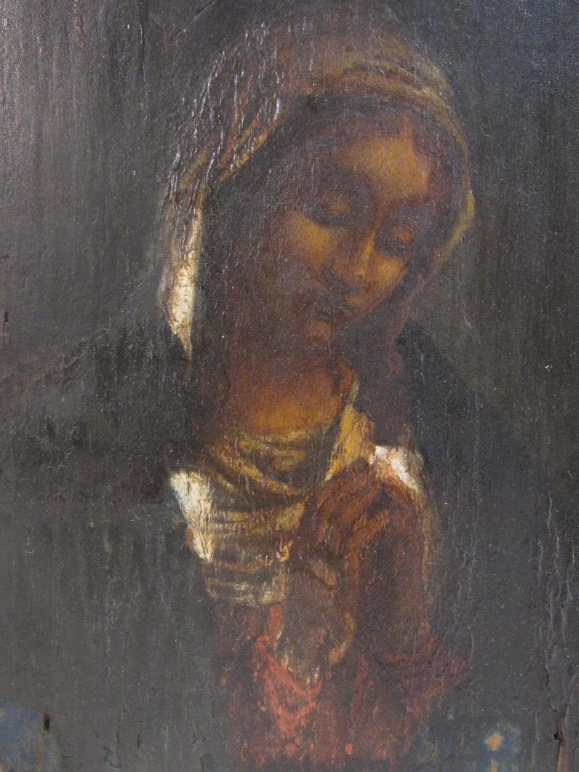 19TH C PAINTING ON PANEL OF THE VIRGIN MARY - 2